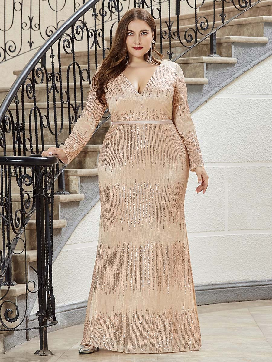 Plus Size Deep V-Neck Sequin Evening Dress with Long ...