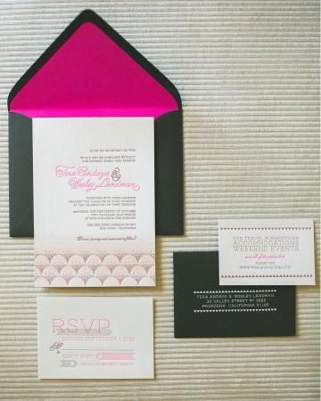 Punchy invites with neon pink liners