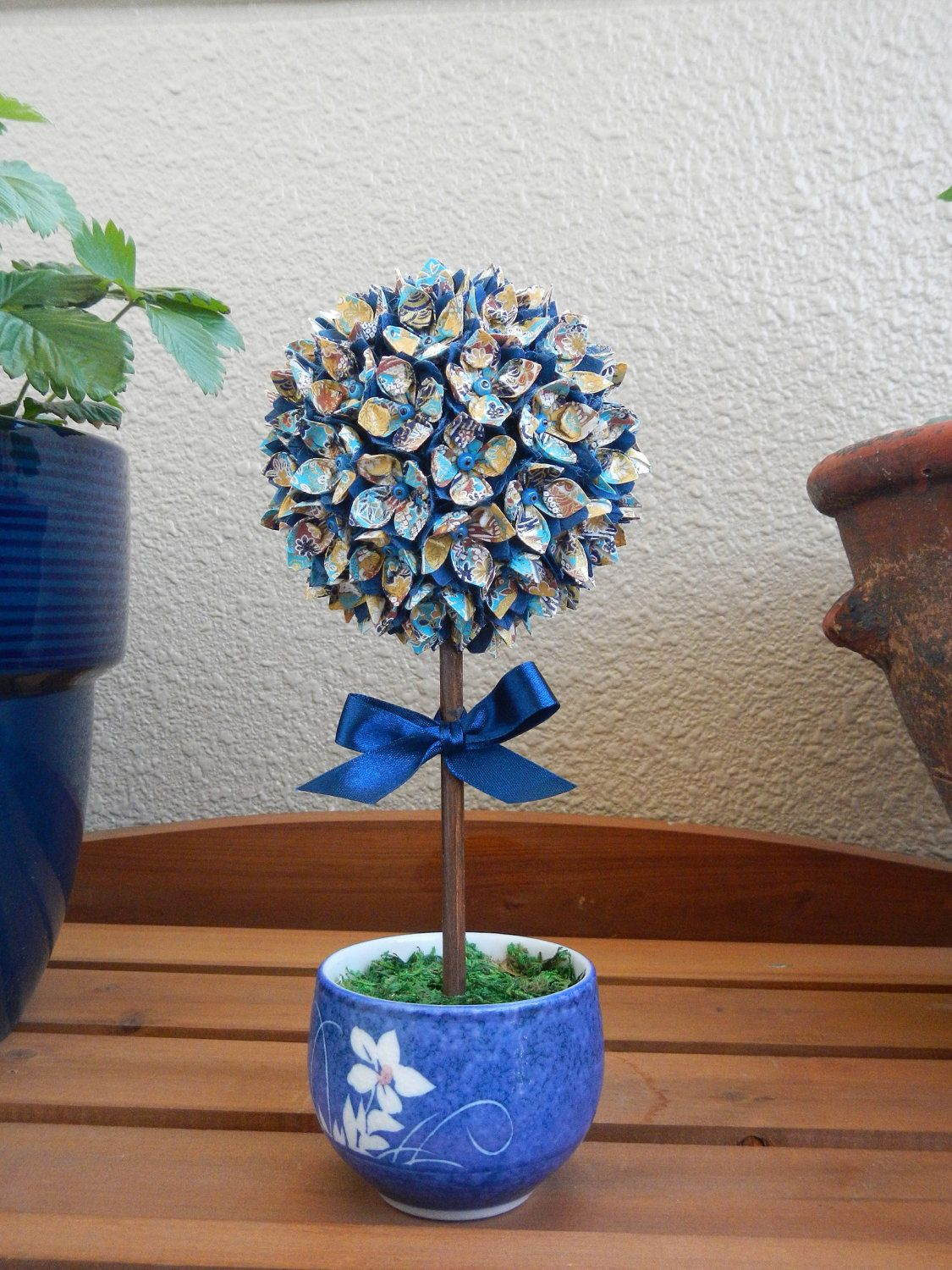 Paper Flower Topiary Origami Japanese Washi Paper Centerpieces