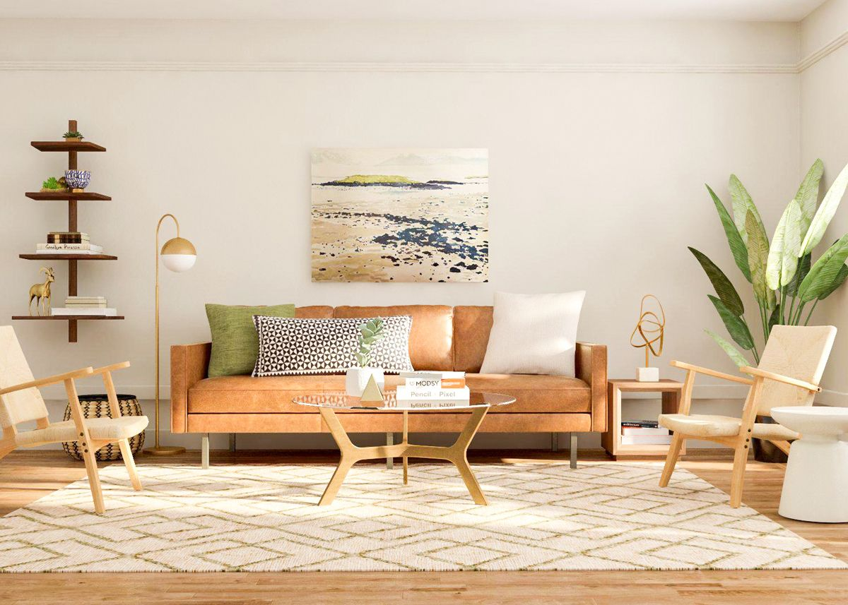 Modsy Style Mod Visionary | Mid century modern living room ...