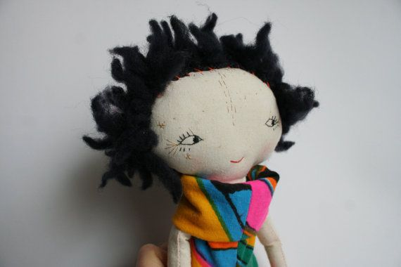 punky little lu doll black hair bright colourful by humbletoys