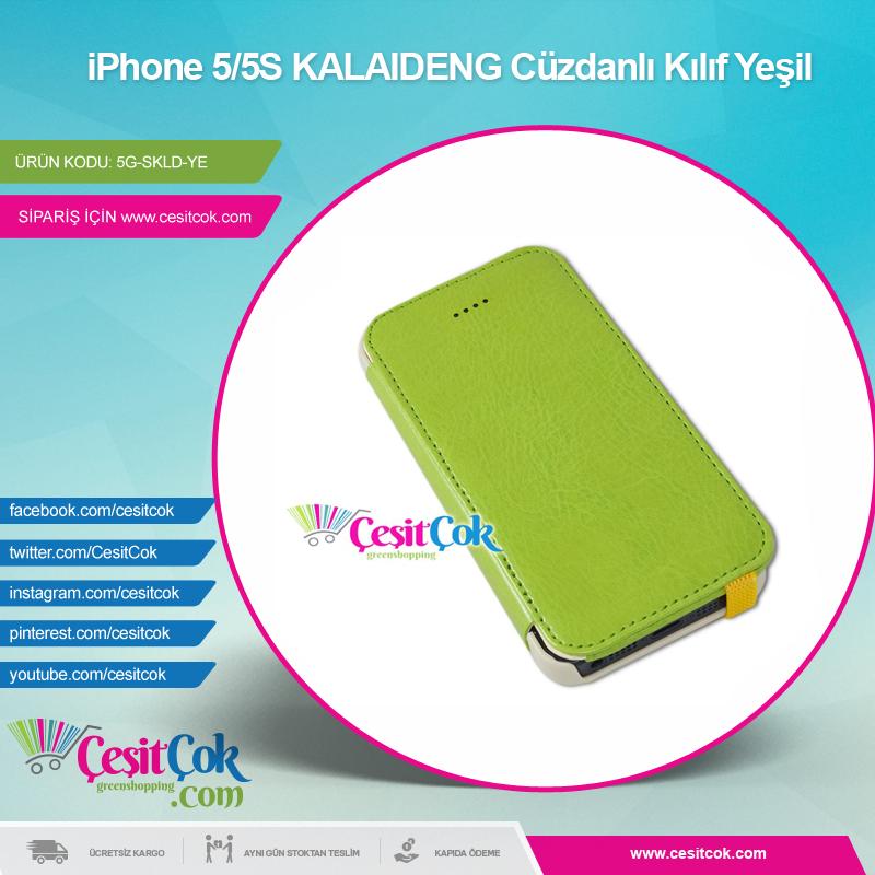 #iPhone 5/5S #KALAIDENG Cüzdanlı Kılıf Yeşil >> http://goo.gl/kqetU1