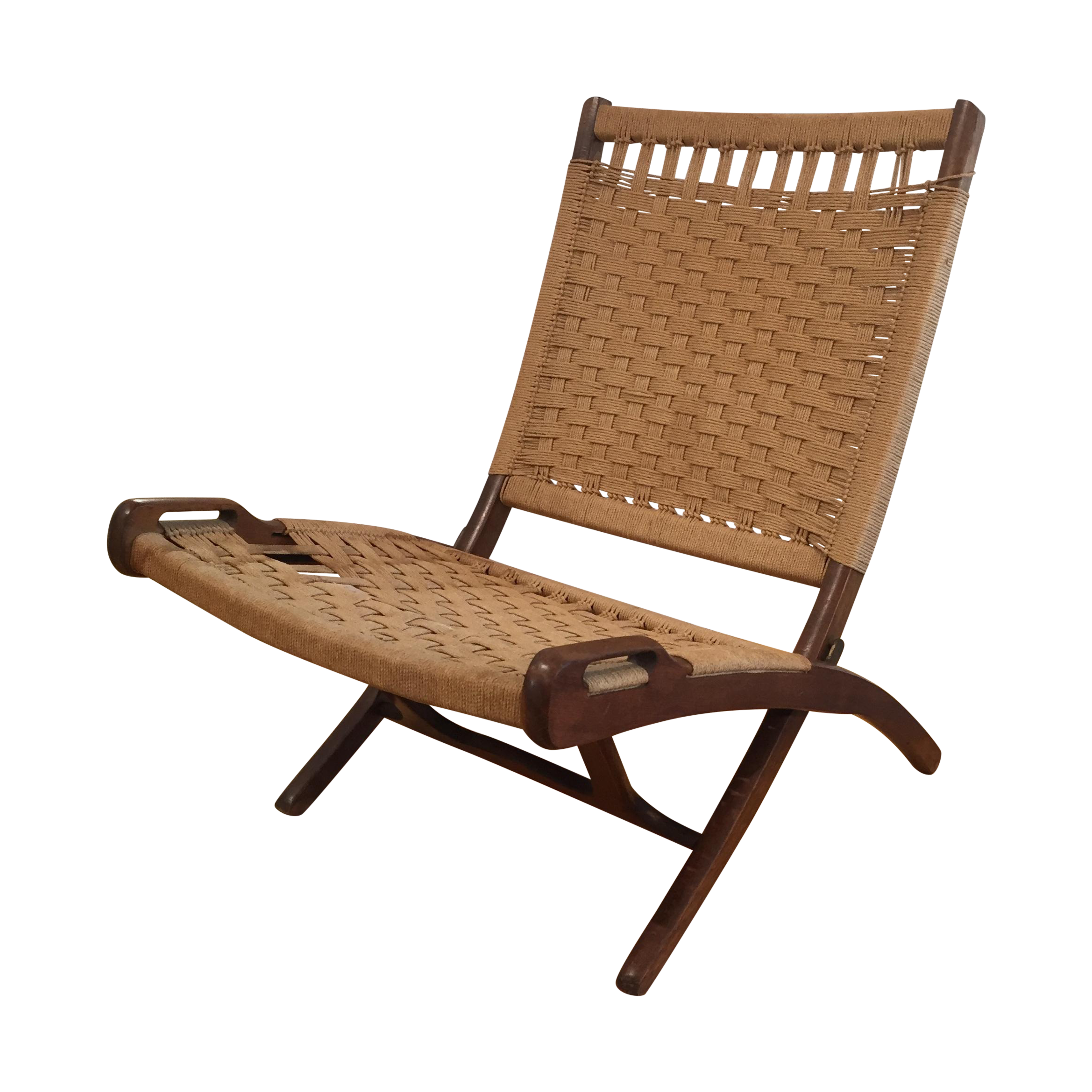 A Vintage Mid Century Modern 1960s Wegner Style Folding Lounge Chair. Low  Profile And