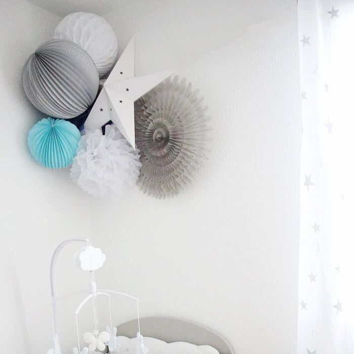 Lampions papier suspendus id es d co pinterest for Lampion chambre bebe