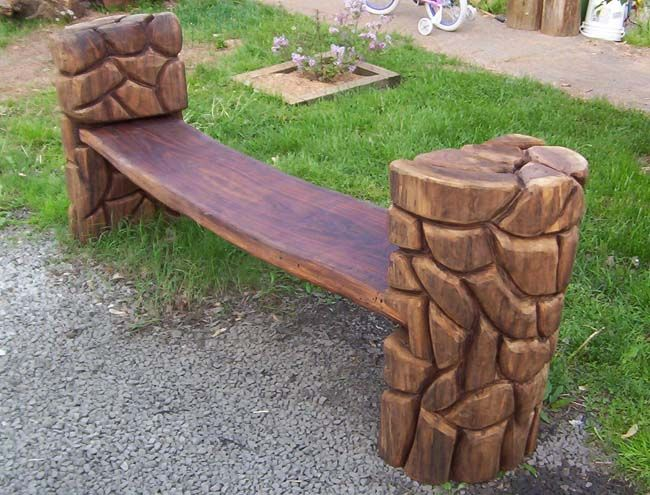 Chainsaw carved wood benches carving the