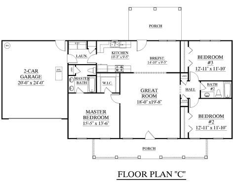 house plan 1500 c the james c attractive one story ranch split