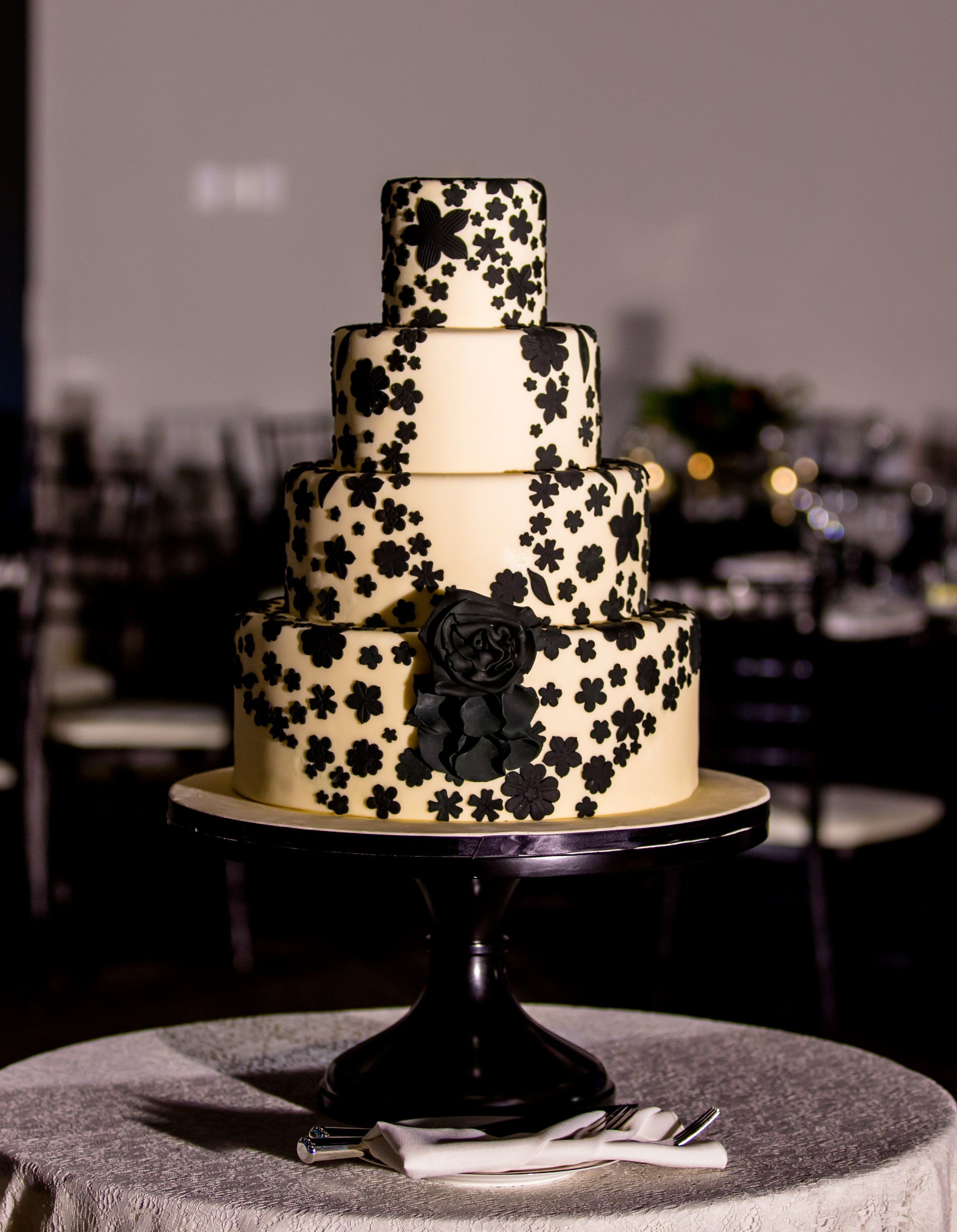 Amy Beck Cake Design - Chicago, IL - Black flowers, lace inspired. #amybeckcakedesign photo by Victoria Sprung Photography