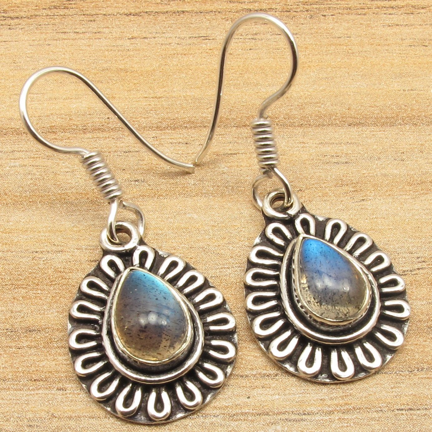 LABRADORITE Gems Vintage Art Designer Jewellery Earrings Silver