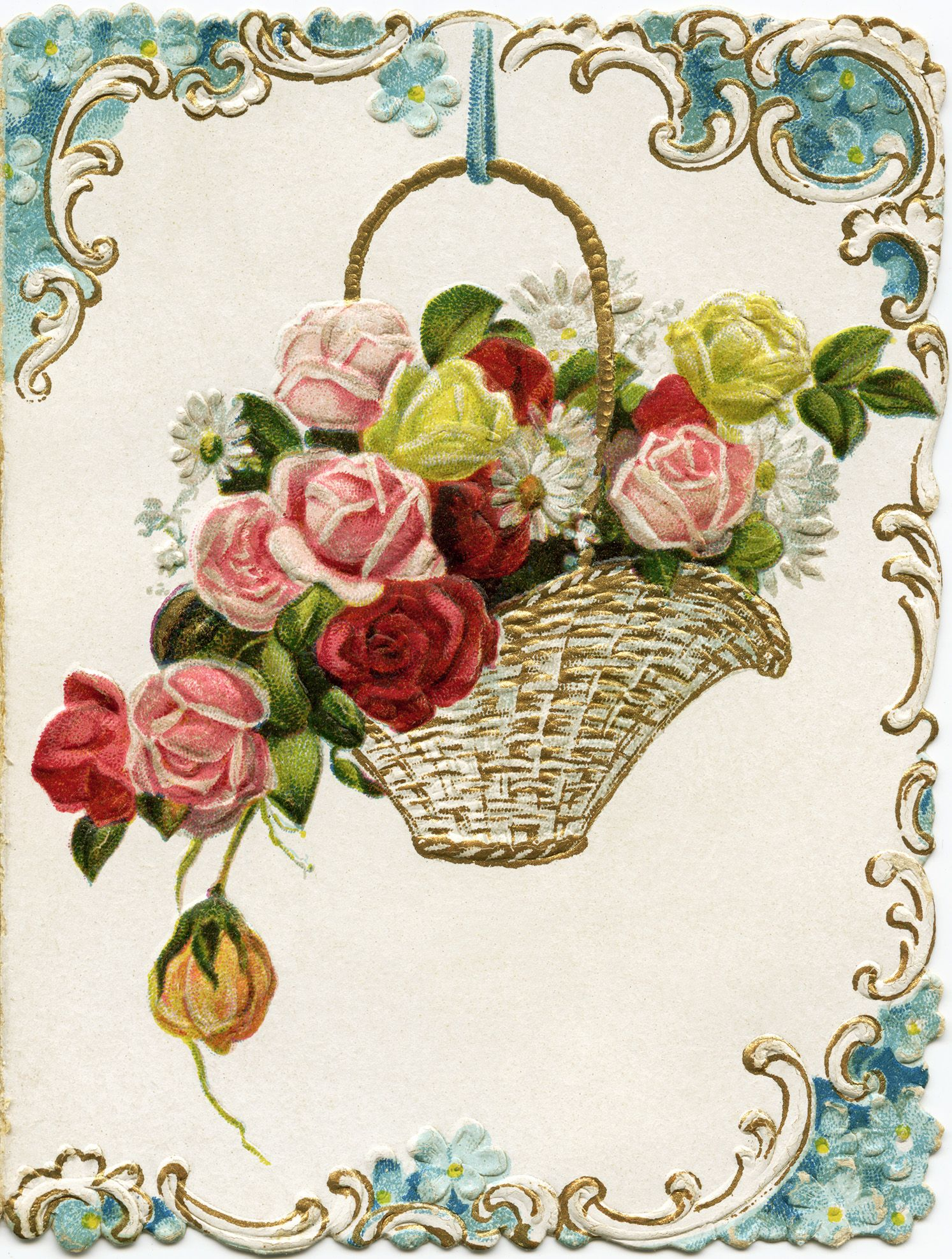 Basket of Flowers New Year Greeting Card imagens