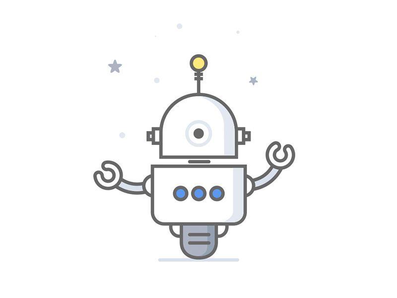 Flat Robot Robot Illustration Vector Robot Logo Illustration Design