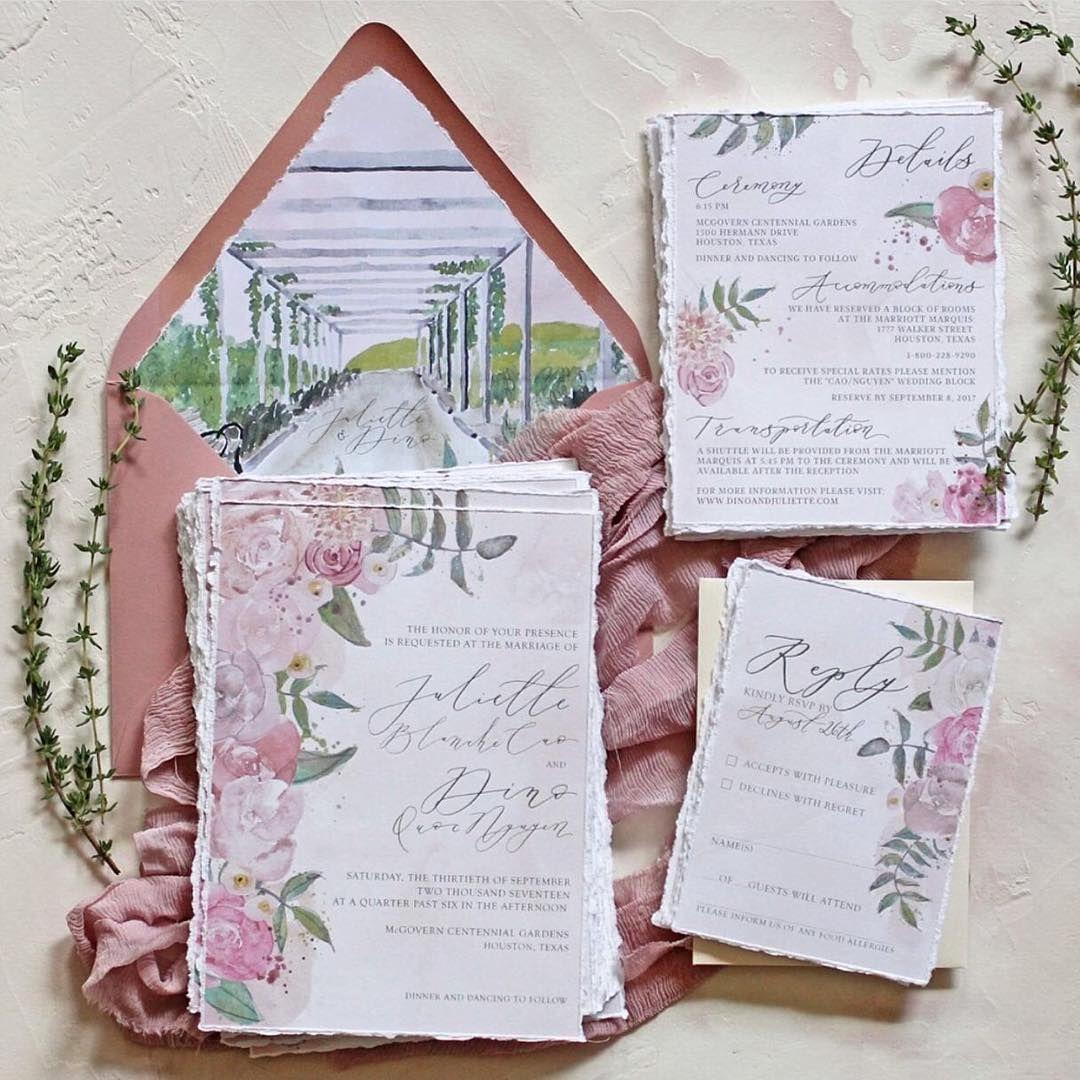 Pink Watercolor Illustration Wedding Invitation | Invitation: Nib ...