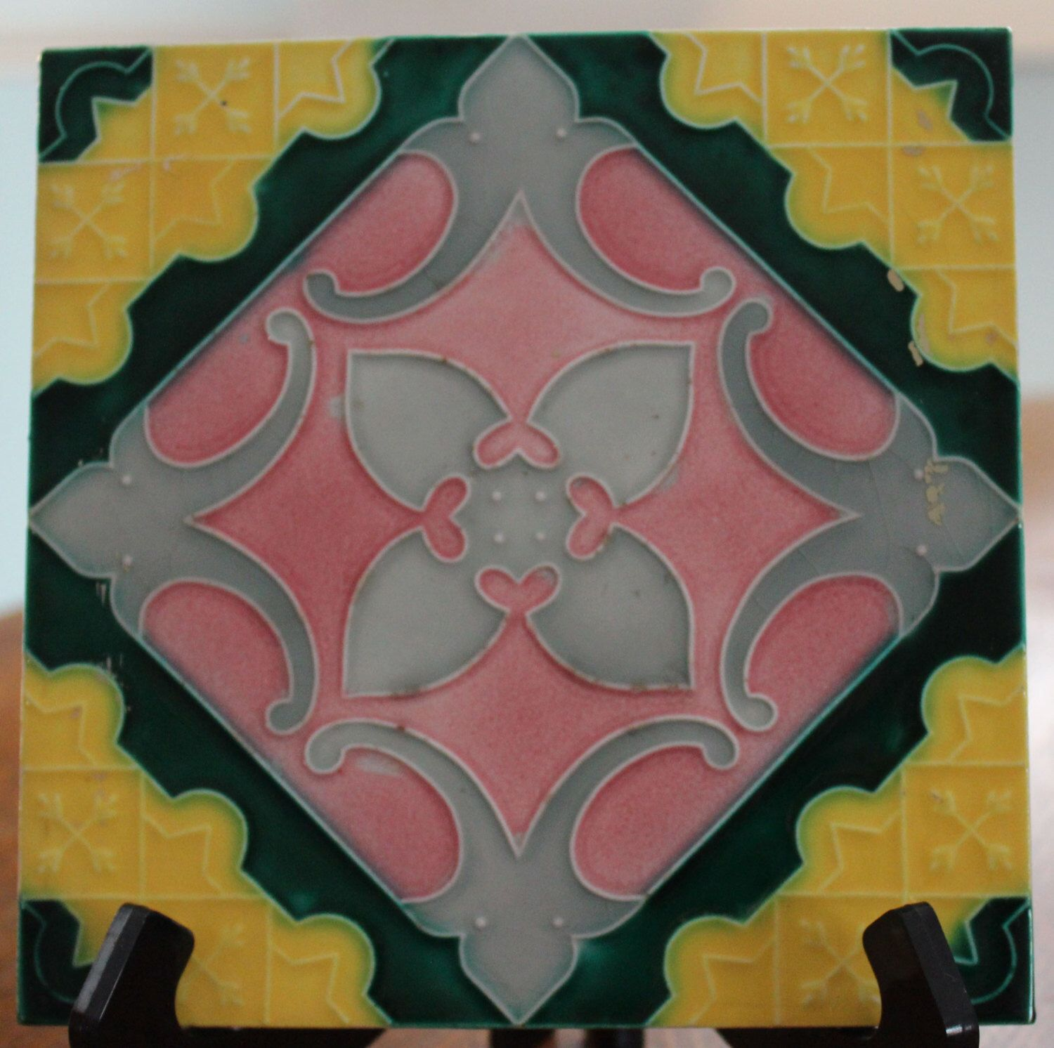 Lovely Vintage Art Deco/Arts and Crafts Majolica Tile by LittleWrensHouse on Etsy https://www.etsy.com/listing/225573028/lovely-vintage-art-decoarts-and-crafts