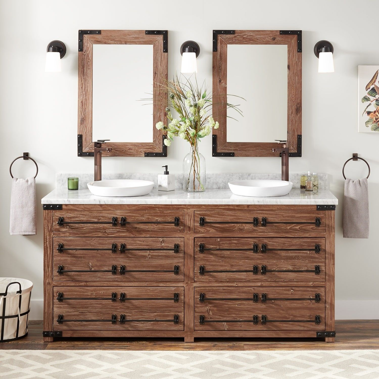 72 Bonner Reclaimed Wood Double Vanity For Semi Recessed Sink In