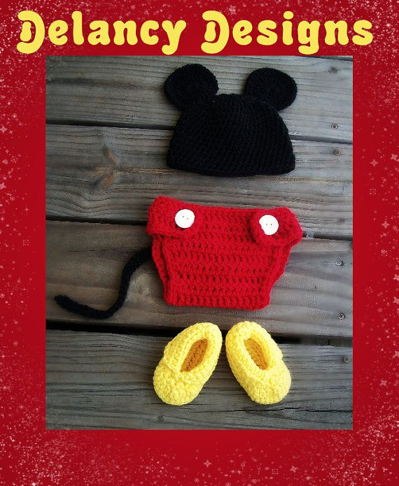 crochet baby minnie mickey mouse nappy cover hat and shoes photo props 0-3