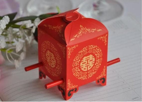"""12 Chinese Style """"Red Double Happiness"""" Sedan Chair"""