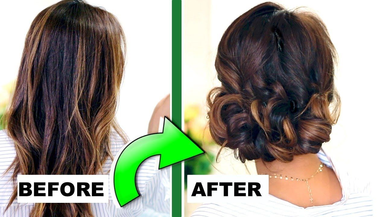 Minute elegant curly bun updo hairstyle easy hairstyles for eve