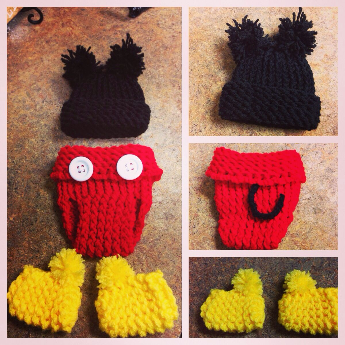Mickey Mouse knitted outfit for pictures :)   Crochet ...