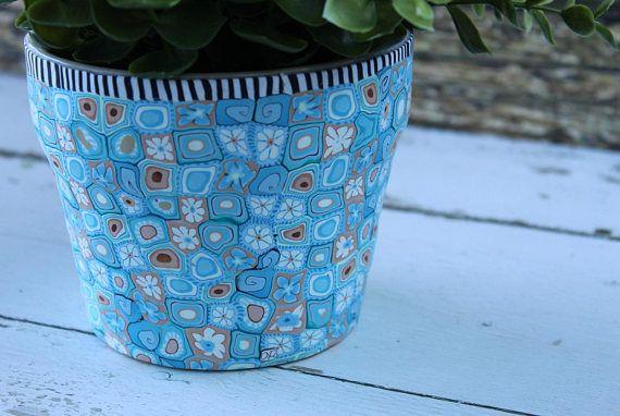 Light Blue Plant Pot Pale Blue Planter Polymer Clay Plant Pot Indoor Planter Housewarming Gift Gift For Her Gift Blue Planter Blue Plants Clay Plant Pots