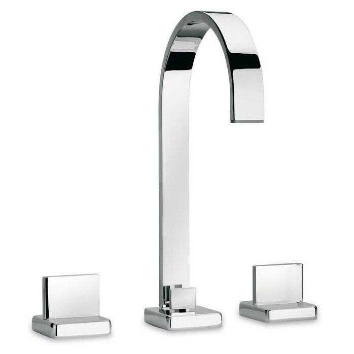 Photo of Handmade Widespread lavatory faucet with lever handles (Chrome Finish), Grey, LaToscana