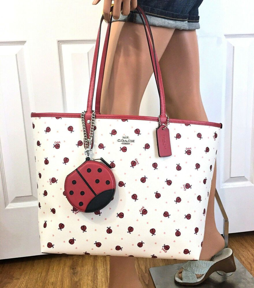 Coach Ladybug Reversible City Tote Purse Pouch Bag Charm Nwt Coach Tote Casual Tote Purse Purse Pouch Coach Tote Bags