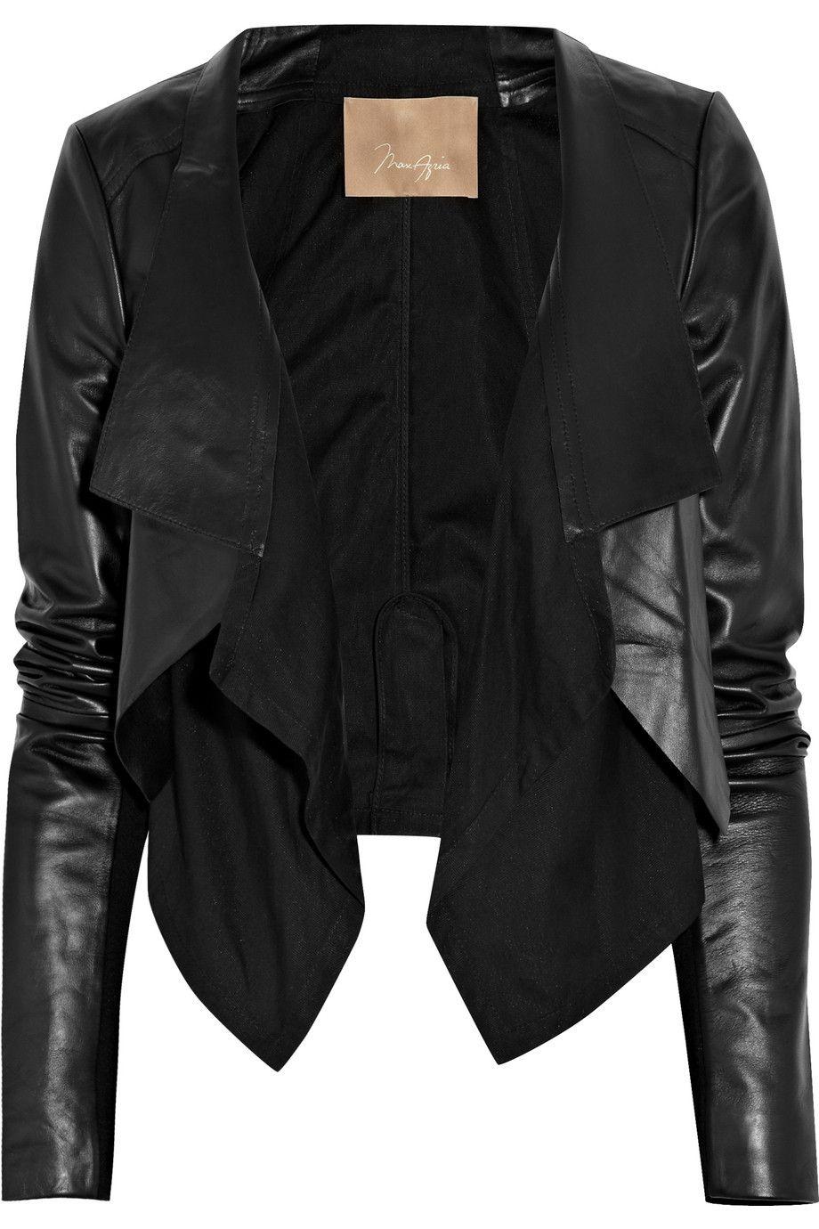 Max Azria cotton-paneled leather jacket