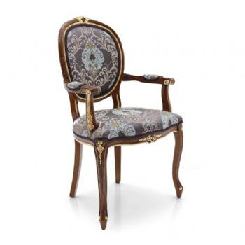 CLASSIC FRENCH LOUIS STYLE OVAL BACK UPHOLSTERED CARVER DINING ARMCHAIR