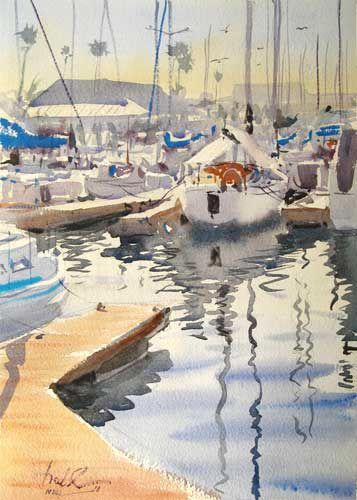 Redondo Beach Harbor Plein Air By Frank Eber Art