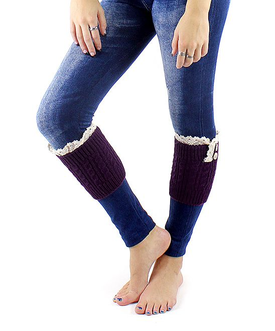 Very Moda Purple Lace Boot Cuff Leg Warmers