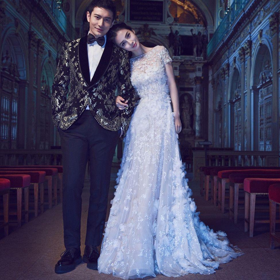 Christmas wedding dress korean - 2016 Angelababy Vestido De Noiva Romantic Wedding Dresses White Lace Appliques O Neck A