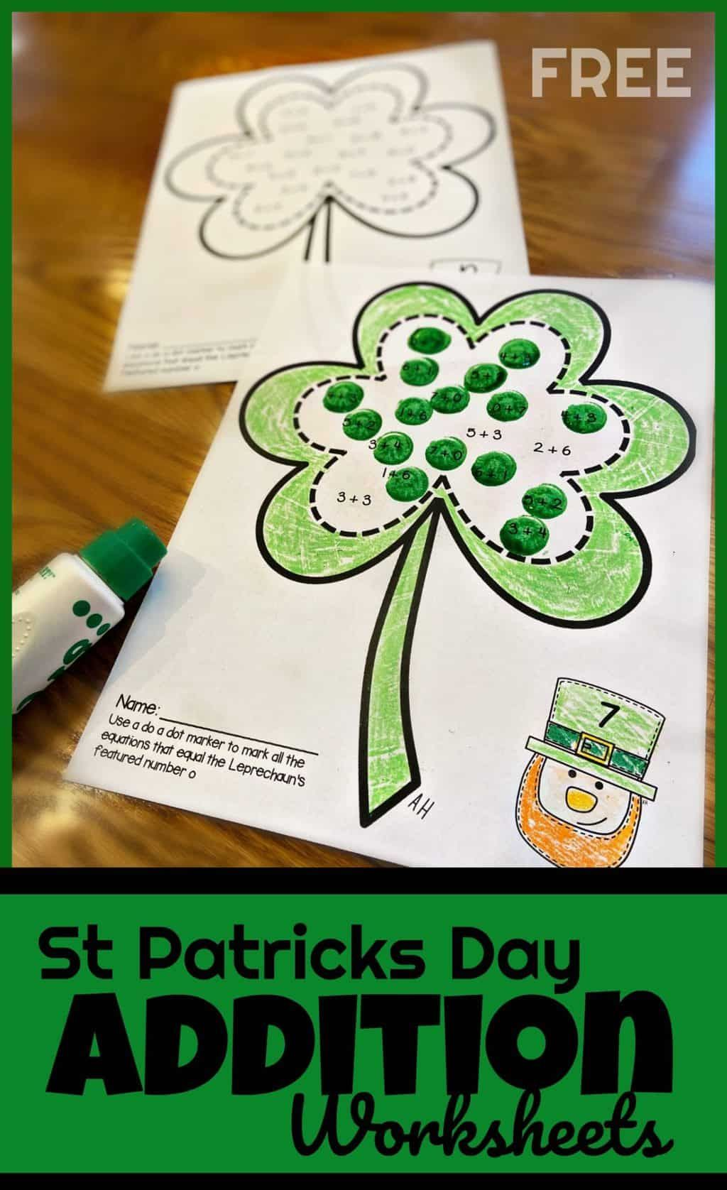 FREE St Patricks Day Addition Worksheets in 2020 St