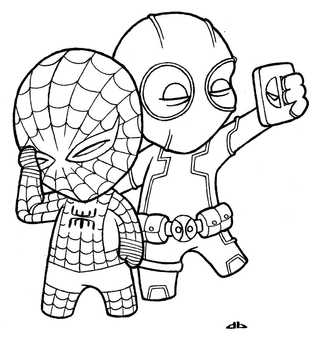 Deadpool And Spider Man Cartoon Drawings Sketch Coloring Page