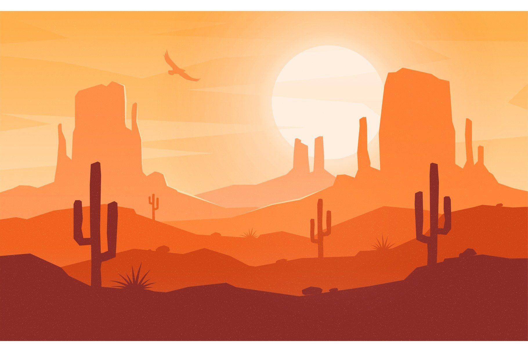 Daytime Cartoon Flat Style Desert Desert Art Landscape Illustration Desert Landscaping