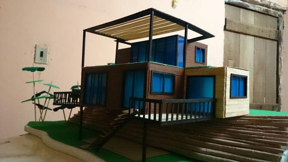 maqueta casa container hecha de mdulos sostenible