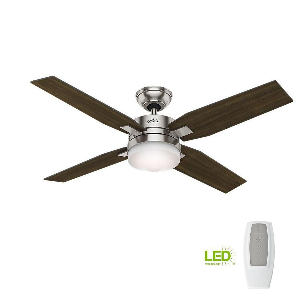 Hunter Mercado 50 In Led Indoor Brushed Nickel Ceiling Fan With Light And Universal Remote 59207 Ceiling Fan Brushed Nickel Ceiling Fan Hunter Ceiling Fans
