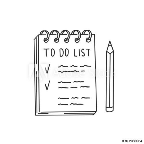List with things to do in notepad and pencil. Checklist doodle illustration, hand drawn black line clip art , #AD, #Checklist, #doodle, #illustration, #List, #notepad #Ad