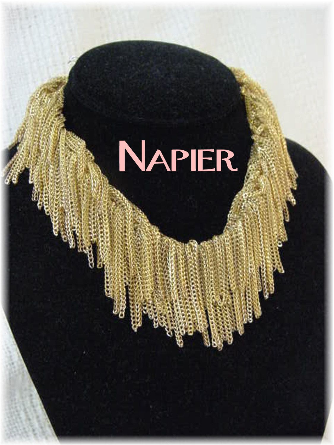 Napier - Foxtail Chain Fringed Lions Mane 1950s Necklace - Shaggy Fringe Statement Piece Jewellery- Estate Antique - FREE SHIPPING