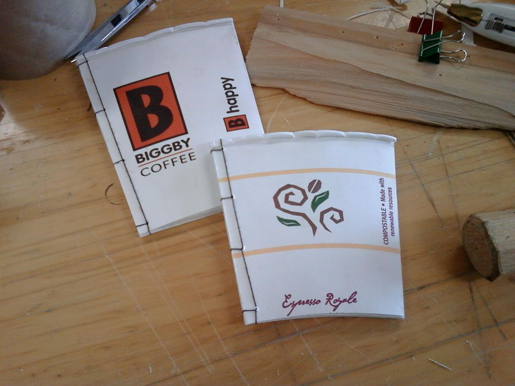Scrap paper notebooks made out of recycled coffee cups.