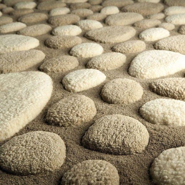 Tapis laine tufté main beige vitalize ligne pure 140x200 - Tapis Cosy