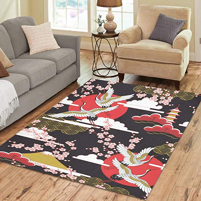 Amazon Com Modern Home Decor Floor Carpet Japanese Crane Living