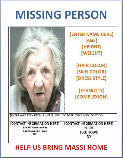 Missing Person Poster Template Templates Pinterest Templates