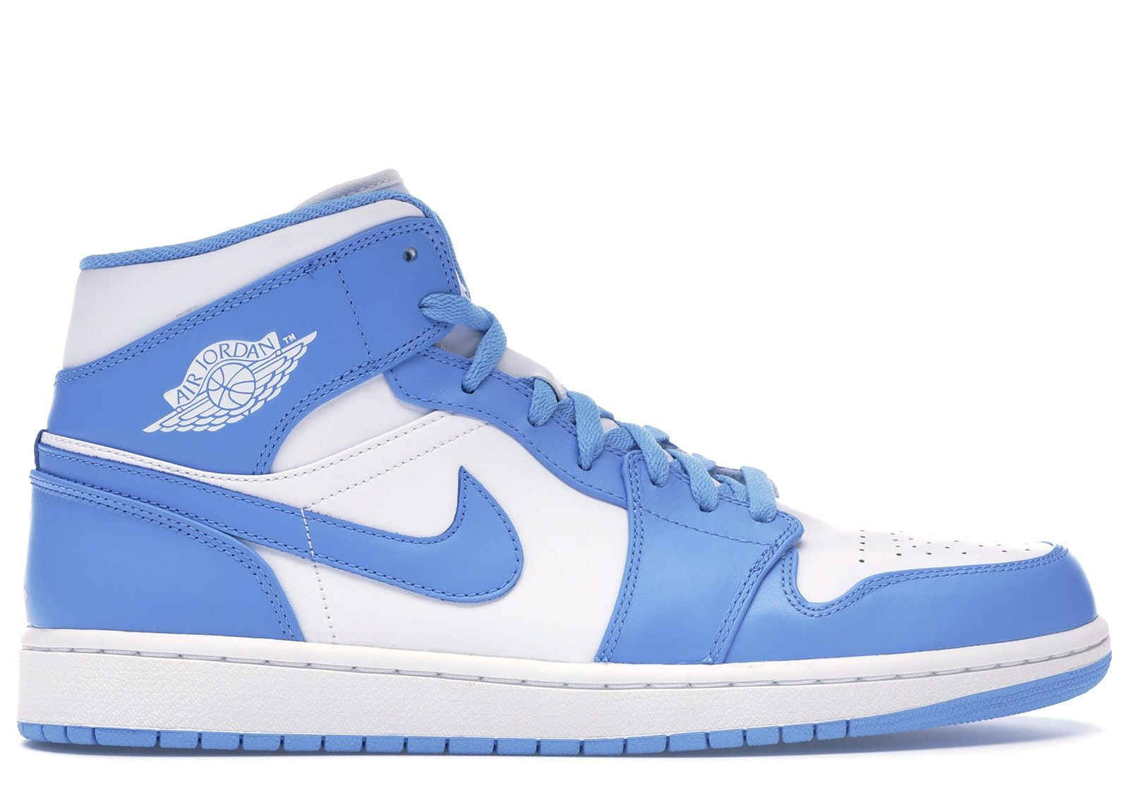 Guarda Jordan 1 Retro Mid Unc Disponibile Su Stockx Jordan Shoes Girls Blue Jordans Blue And White Jordans