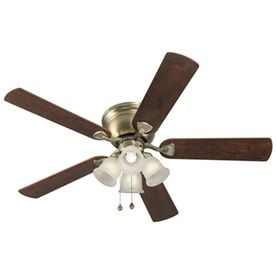 Harbor Breeze Centreville 52 In Antique Br Indoor Flush Mount Ceiling Fan With Light Kit