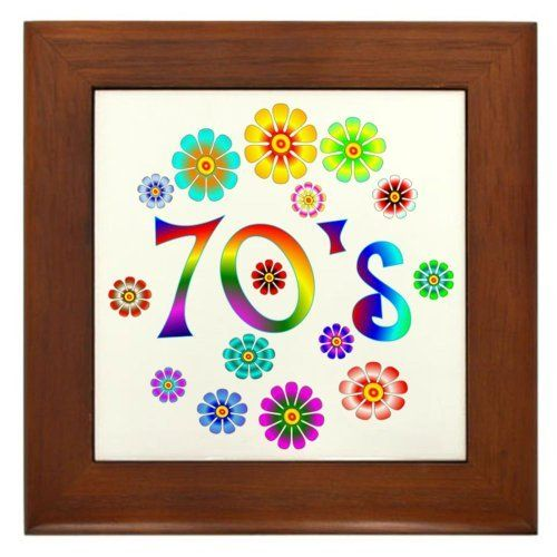 """70s Framed Tile by CafePress by CafePress. $15.00. Quality construction frame constructed of stained Cherrywood. 100% satisfaction guarantee return policy. Two holes for wall mounting. Frame measures 6"""" X 6"""" x 0.5"""" with 4.25"""" X 4.25"""" tile. Rounded edges. Bring back the retro 70s with this colorful design with the flowers and the word 70's."""