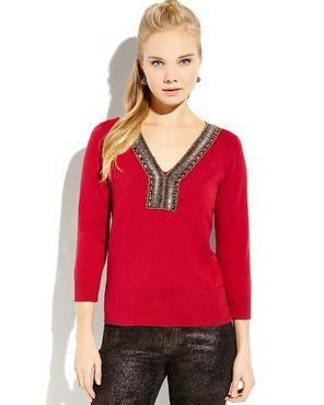 AUGUST SILK Beaded V-Neck Sweater
