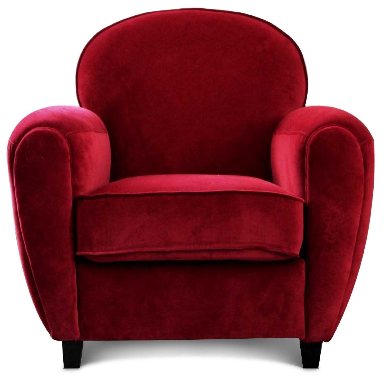 Fauteuil Club en velours rouge Harwood Bureau Maman