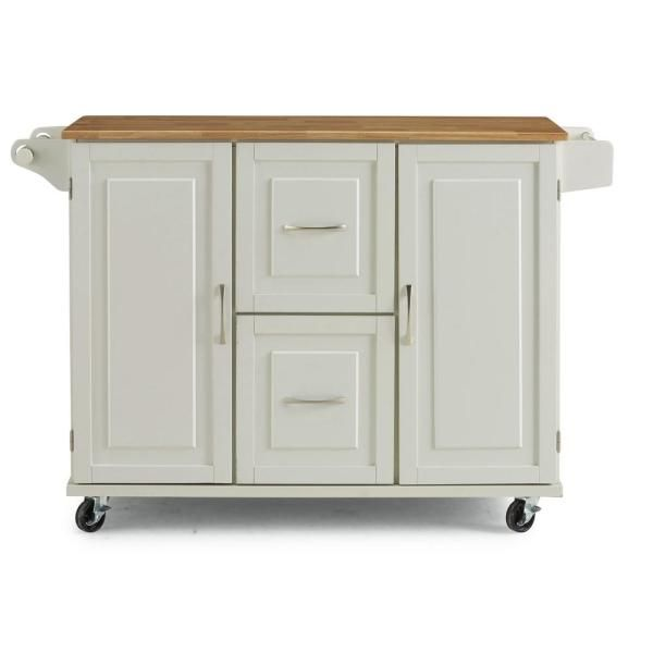 Homestyles Dolly Madison White Kitchen Cart With Natural Wood Top