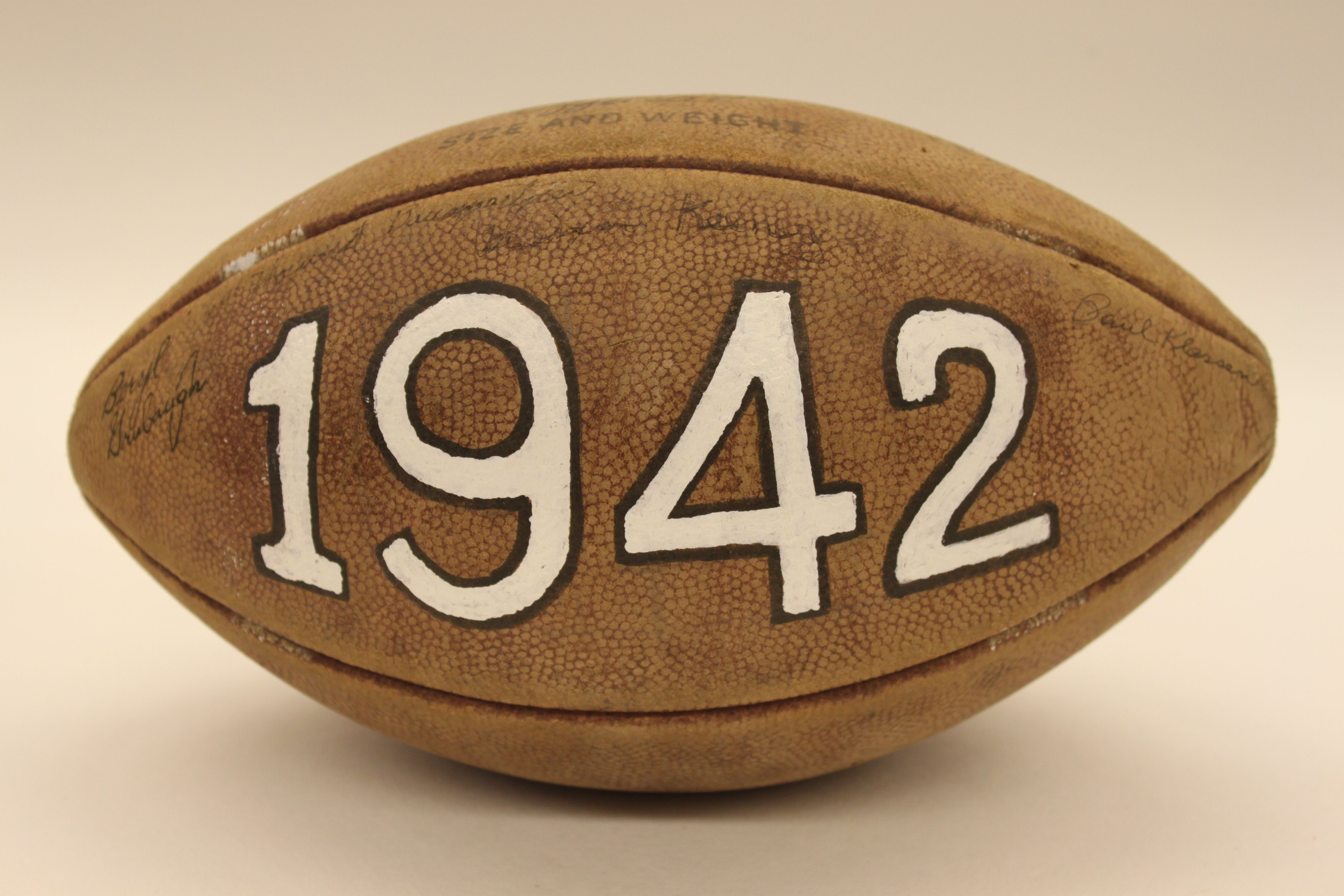 Football signed by the 1942 bluffton college football team