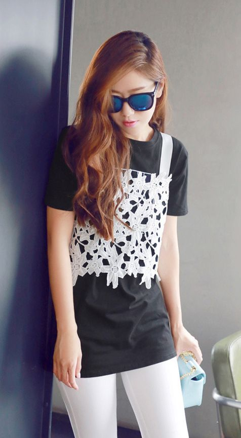 Fashiontroy  Hipster & indie short sleeved crew neck black+white solid color cotton blend T-shirt + lace camisole