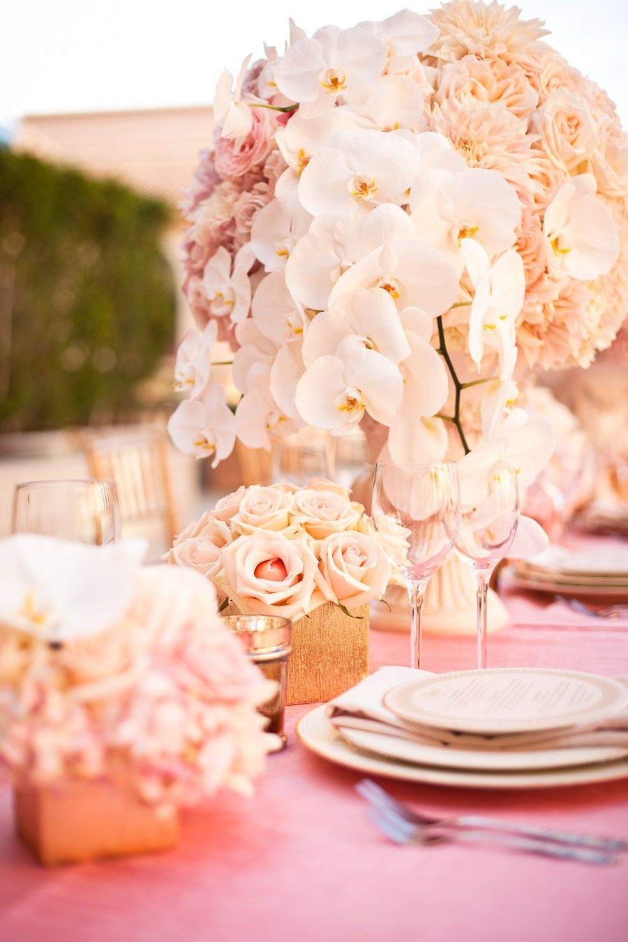 Tall centerpiece - blush and white roses, pink dahlias ...