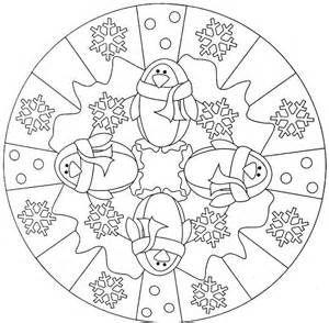 Kleurplaten Winter Mandala.Penguin Winter Mandala Coloring Pages Kids Science Projects